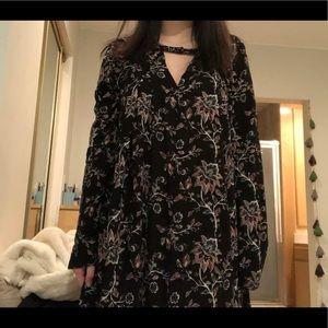 UNWORN BLACK FLORAL SHIFT DRESS